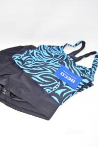 Completo Costume Donna Pantalone + Canotta Debo Nero E Blu Zebrato Tg 40 Nuovo