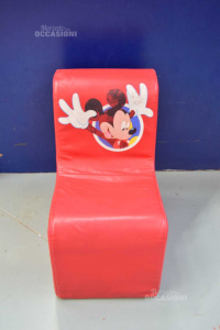 Armchair Children Padded Removable Cover Faux Leather Of Mickey 33x51x58 Cm