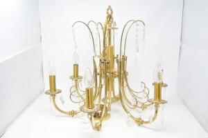 Lampadario Ottone Con Cristalli 6 Luci 50x55 Cm