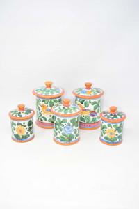 Set Vases Ars Deruta Paintings Per Salt Coffee Sugar Pepper 11 13 17 Cm Height