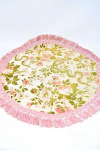 Doily In Velvet With Pon Pon Pink 50 Cm Diameter