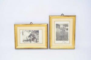 Set Coppia Quadri Con Foto 1 Guerra Mondiale Anno 1916 / 1917 Cornice Dorata 15x20 Cm