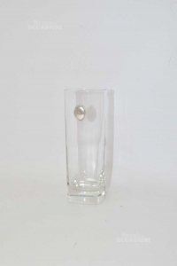 Glasses Liquor With Coat Of Arms Silver Tall 15 Cm,base Square In Crystal
