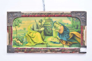Painting Antique 89x47 Cm Natività Of Jesus With Frame Wood And Brass