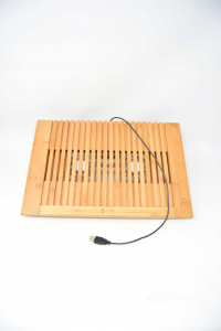 Base Per Pc Portatile Con Ventola In Bamboo MaCally Con Attacco Usb