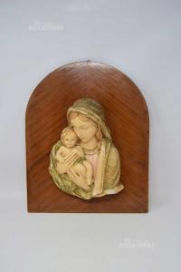 Quadretto Vintage Madonna Con Bambino In Gesso Su Base Legno, 32x40 Cm