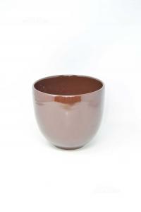 Vaso Per Piante Marrone Scuro Tondo In Ceramica 20 Cm Diametro