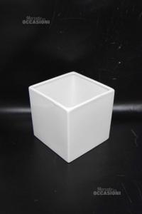 Vaso Cubo Per Piante Bianco In Ceramica 13.5 Cm Diametro