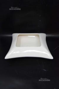 Vaso Basso Per Piante Quadrato Bianco In Ceramica 28 X 28 Cm (apertura Interna 15 X