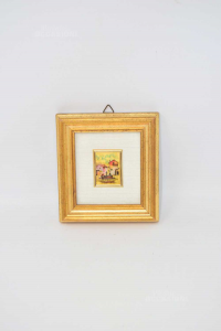 Small Painting Leaf Gold 23kt With Village Case With Well 11x12 Cm