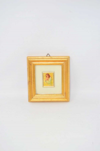 Small Painting Leaf Gold 23kt Mom With Son 11x12 Cm