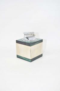 Accendino Da Tavolo A Forma Cubica Verde E Metallo 6 Cm Diametro (da Testare)