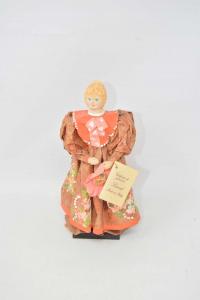 Bambola In Cartapesta Dipinta A Mano 22 Cm