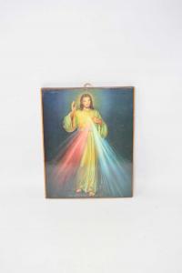 Quadro Stampa Gesù 20x25 Cm Su Legno