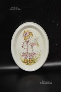Quadretto In Ceramica Da Appendere Bambina Dipinta A Mano 20x15.5 Cm