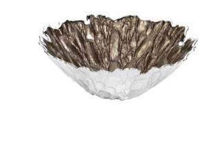 Centrotavola  cristallo argento Moss
