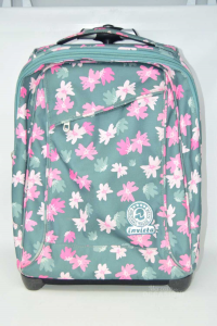 Backpack Green With Flowers Pink Invicta Included Of Wheels