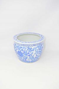 Vaso Porta Piante In Ceramica Disegni Blu Fantasia China Altezza 18 Cm