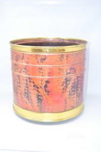 Vaso Porta Piante In Rame E Ottone Con Ruote Diametro 36 Cm X 34 Cm Altezza