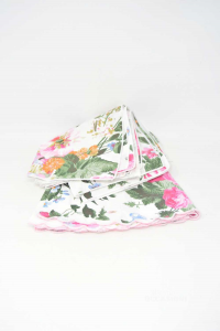 Tablecloth Round With 6 Napkins Flowery