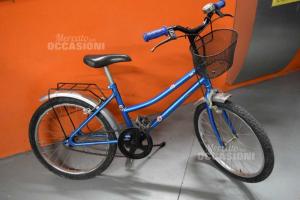 Bicicletta Ragazzo Blu Elettrico Con Campanello E Cestino Anteriore
