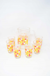 Jug In Vetr With 6 Glass Glasses Orange Yellow