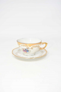 8 Ceramic Cups Bavaria With Decors Gold Plated