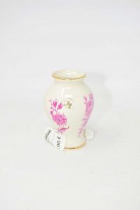 Vasetto In Porcellana Altezza 9 Cm Bordo Dorato