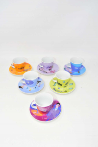 6 Ceramic Cups Colored