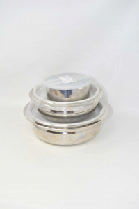 Bowl In Steel With Lid Sigillante 3 Pieces Diverse Size