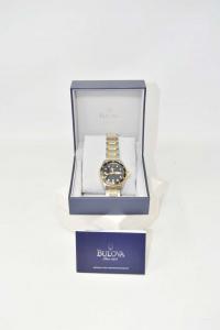 Orologio Blulova In Acciaio Sfondo Nero Modello C9671336 NUOVO