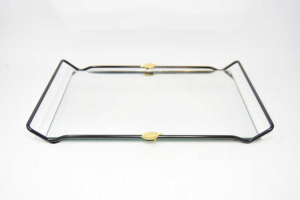 Tray Mirrored With Leaf Golden Size 38x25 Cm
