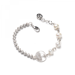 Sovrani bracciale donna perle di fiume e strass bianchi J3868