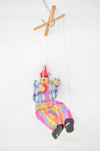 Marionetta In Legno E Stoffa Colorata Vintage