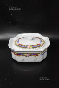 Biscottiera Tipo Limoges In Ceramica 14x8x18 Cm