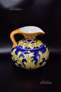 Brocca In Ceramica Dipinta A Mano Blu Gialla 20x20 Cm