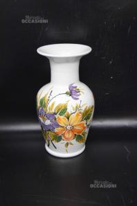 Vaso In Ceramica VZ Bianco Con Fiori Dipinti 25 Cm Altezza