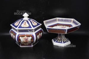 Coppia Alzatina + Vaso Contenitore Esagonale In Ceramica Bianca Fantasia Rossa E Blu
