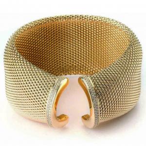 Sovrani bracciale donna rigido in bronzo dorato con zirconi J4075