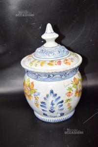 Vaso In Ceramica Con Coperchio 22 Cm Dipinto A Mano