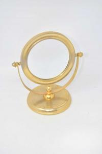 Specchio Trucco Girevole In Ottone 20x18 Cm