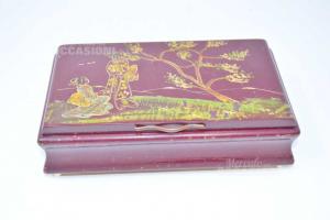 Scatola Vintage Legno Con Lamina In Argento 925 Raffigurante Paesaggio (da Sistemare)