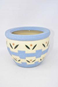 Vaso Per Piante Bianco Azzurro