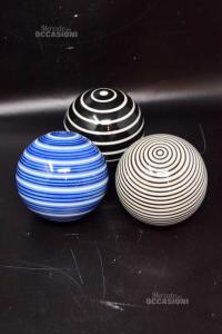 Sphere Glass Murano 10 Cm 4 Pieces White Black Blue