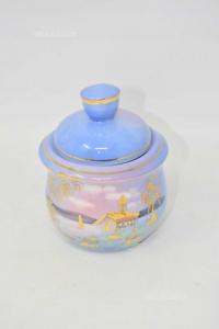 Jar With Lid Landscape Purple 12 Cm
