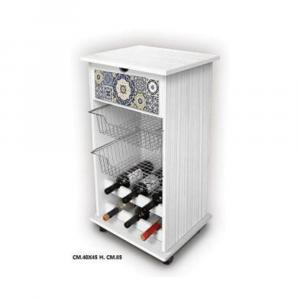Carrello Porta Frutta Stile Shabby Decorazione White Aulejos Effetto Legno 40x45 cm Alto 85 cm Multiuso