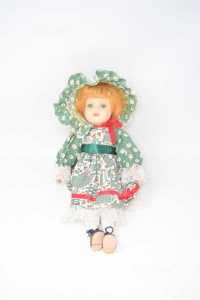 Doll Vintage In Ceramic With Dress To Square Green And Hat