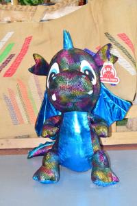 Plush Dragon Multicolor Wings Light Blue 70 Cm Petra Toys