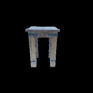Tavolino in legno di palissandro indiano (sheesham wood) con inserti in ferro