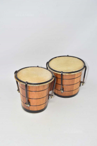 Drum Double In Wood With Canvas Leather